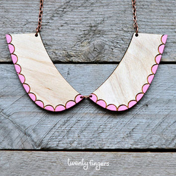 Cute wood Pendant collar (laser cut & hand painted)