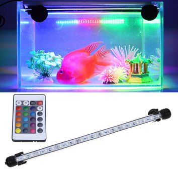 Waterproof DayNight Acrylic US Plug 18-48CM 5050 RGB LED Aquarium Fish Tank Submersible Light Air Bubble Lamp Remote New