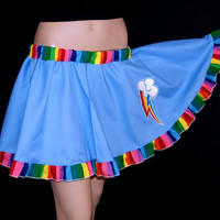MLP Rainbow Dash Embroidered Applique Circle Skirt Adult ALL Sizes - MTCoffinz