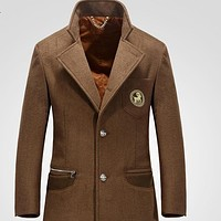 Autumn and Winter Men Wool Coat Medium-long Woolen Outerwear Trench Male Overcoat Jackets Slim Fit Male Cashmere Pea Coat