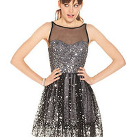Ruby Rox Juniors Dress, Sleeveless Mesh Paillettes - Juniors Dresses - Macy's