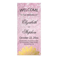 Chic Pink Glitter and Gold Floral Wedding Program