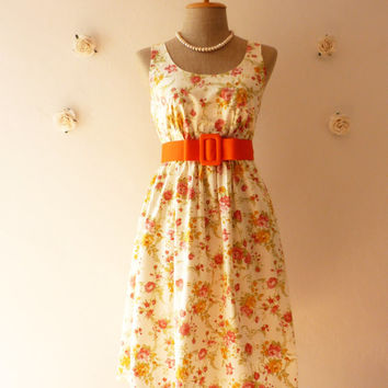 Romantic Summer Dress Tangerine Floral Dress Vintage Inspired Dress Garden Beach Dress Bridesmaid Dress Rose Dress Unique Piece.-Size S