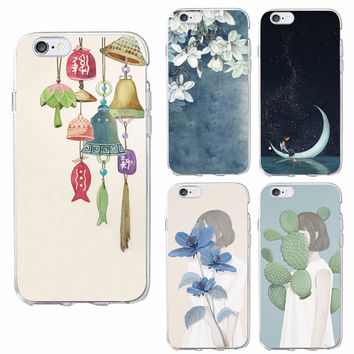 Korea Art Drawing  Chime Wind bells Moon Star Silence Girl Floral Phone Case For iPhone 7 7Plus 6 6S 6Plus 5 5S SE 5C 4 SAMSUNG