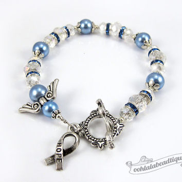 Prostate Cancer bracelet awareness jewelry Guardian Angel bracelet hope bracelet cancer awareness blue ribbon bracelet gift cancer jewelry