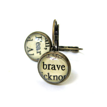 Brave and Fear Salvaged Vintage Library Card Word Earrings Aged Brass