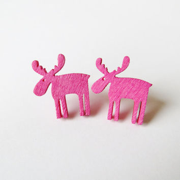 Pink earrings, Elk jewelry, earrings christmas, stocking filler, laser cut wood, Stag antlers, UK jewellery