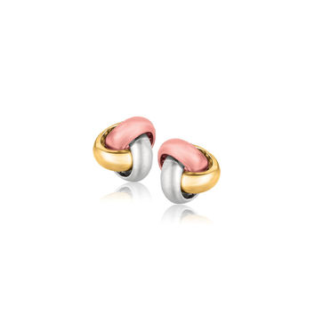 14K Tri-Color Gold Love Knot Stud Earrings