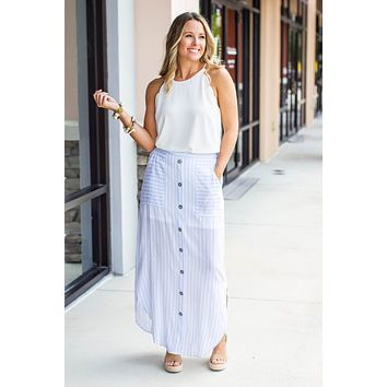It Goes Down Maxi Skirt - Light Blue Stripes