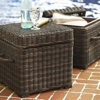 Torrey All-Weather Wicker Cube | Pottery Barn