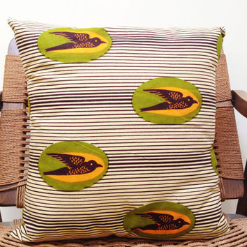 GOMIS Sparrow Key Lime: African Wax Print Pillow Covers