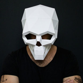 Make your own Skull Mask for Halloween, DIY Skull, Instant Printable  Pdf Templates, 3D Pattern, Printable Mask