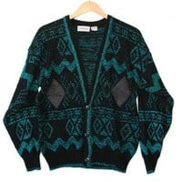 Shop Now! Ugly Sweaters: Teal & Leather Vintage 80s Tacky Ugly Cosby Cardigan Sweater Men's Size XL $22 - The Ugly Sweater Shop