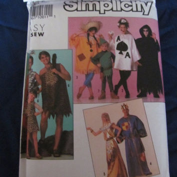 SALE Simplicity Halloween Costume Sewing Pattern 9945! Robin hood, Flintstones, Egyptian, King, Scare Crow, Ace of Spades, Death.