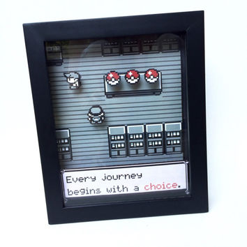 Pokemon Shadow Box- Pokemon Go - Nintendo Game Boy Color 8-bit Shadow Box Frame - Retro Gaming Geek Art