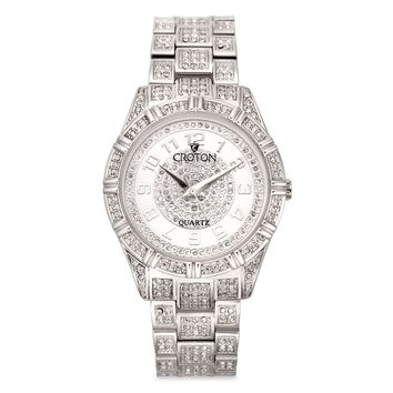 Croton Womens Stainless Steel Silvertone Crystal Watch