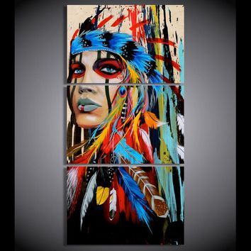 HD printed 3 piece canvas art American Indian canvas feathered Painting wall pictures for living room Free shipping/NY-5786