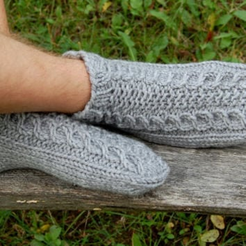 Men Slipper Socks, Hand knit wool slippers,  Knitted wool slippers, Knitted Wool Socks, Knitted Wool Slippers, Unisex, Christmas Gift
