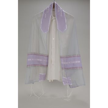 Dazzling Shades of Gray and Violet Women's Tallit, Bat Mitzvah Tallit