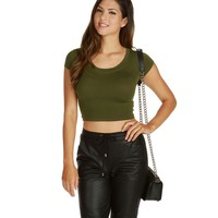 Olive Flex Crop Top