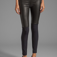 Milly Italian Doubleweave Stretch Bi Front Leather Panel Pant in Black from REVOLVEclothing.com
