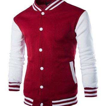 Streetstyle  Casual Men Trendy Band Collar Color Block Bomber Jacket