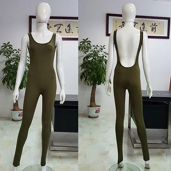 New Arrival Women Jumpsuit Sleeveless Sexy Backless Playsuits Casual Bandage Bodycon Jumpsuit Female Solid Cotton Womens Romper