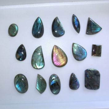 Wholesale Lot Labradorite Cabochon Cabs Wire Wrap Jewelry Supplies 15 piece Handmade Stone Gem Wire Wrapping
