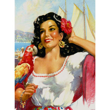 Senorita Mexico Travel Poster Wood Sign