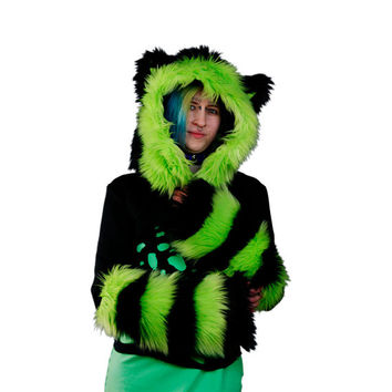 Pawstar ULTRAFLUFF Stripey FOX Yip Hooded SHRUG Zipper Front You Pick Fur Jacket Furry Hoodie Goth Rave Raver Neon Wolf Kitty Ear 6235