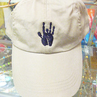 Jerry Garcia hand Grateful Dead Style on TAN Baseball Cap Hat