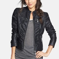 Jou Jou Ruched Faux Leather Jacket (Juniors)