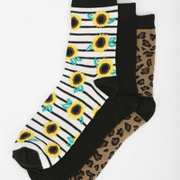 Kimchi Blue Sunflower Stripe Crew Sock - Pack Of 3 - Urban Outfitters