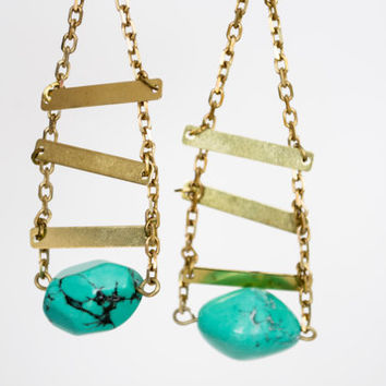 SALE - Teal Green Magnesite Nugget Beads Pendant Earrings