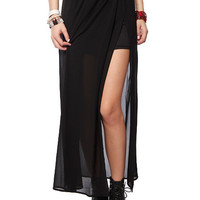 Papaya Clothing Online :: SOLID CHIFFON MAXI OPEN SKIRT