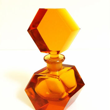 Vintage Irice Amber Art Deco Cut Crystal Art Glass Perfume Bottle