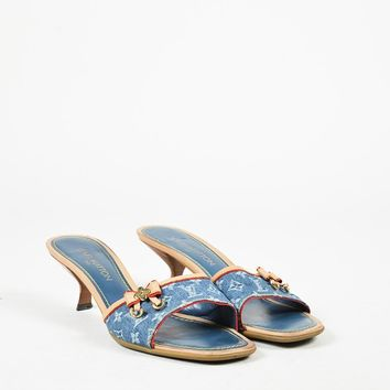 Louis Vuitton Blue Monogram Denim & Vachetta Leather Monogram Bow Sandals