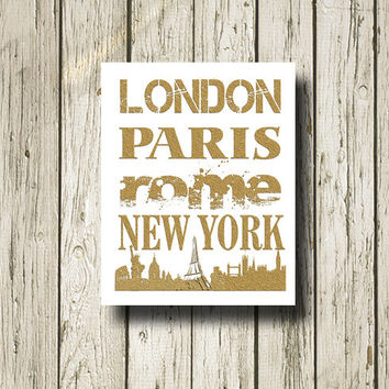 London Paris Rome New York Golden Print Poster Gold White Black Digital Art Printable Instant Download Wall Art Home Decor G060
