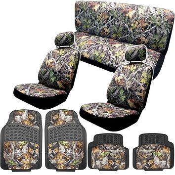 Camo Gray Forest Seat Cover Set with Wat Surreal Camouflage + Bonus Washing Mitt
