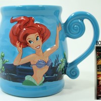 "Disney Parks The Little Mermaid ""Ariel's Undersea Adventure"" Embossed Coffee Mug - Disney Parks Exclusive & Limited Availability + BONUS Single Pack Arabica Coffee:Amazon:Kitchen & Dining"