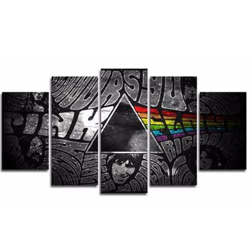 Pink Floyd Music Wall Art Guitar Panel Print Picture on Canvas 5 panel Decor
