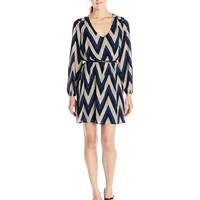 My Michelle Juniors' Chevron Print Belted Dress