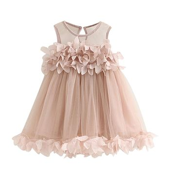 Girl's Pink Applique Princess Sleeveless Dress