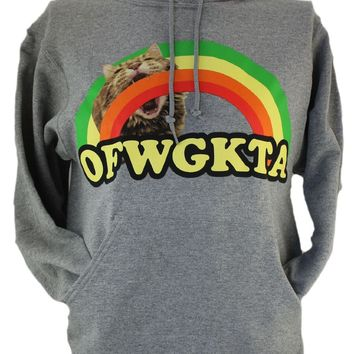 Odd Future OFWGKTA (Tyler The Creator, Odd Future Wolf Gang Kill Them All) Mens Pull Over Hoodie Sweatshirt - Giant Cat Biting Rainbow Front Logo on Gray (Medium)