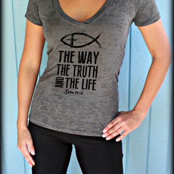 Christian Womens Workout V Neck T Shirt. The Way The Truth And The Life. John 14 6. Christian Clothing. Active Wear. Running Tee.