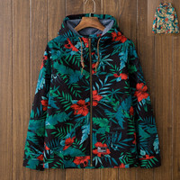 Vintage Men's Leaf Print Lightweight Hooded Jacket
