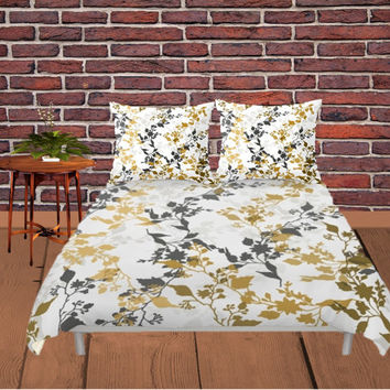 Duvet Cover - 4 different sizes, No Insert, Bedroom, Home, decor, Floral, Boho, Hippie, With, Without, Shams, White, Grey, Brown, Leaves