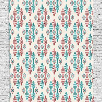 Teal Orange Navajo Aztec Boho Wall Tapestry