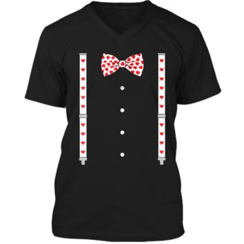 Hearts Bow Tie & Suspenders Valentine's Day Costume  Mens Printed V-Neck T
