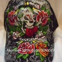 High quality ed hardy hat cap embroidered Skull Face classic rose rhinestone edhardy mens sun caps